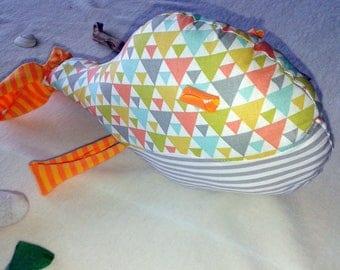 Plush whale in cotton grey-green-orange tones