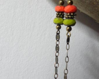 Earrings long lime green and orange beads, hanging chain