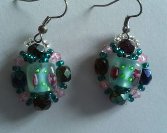 transparent pink blue green color earrings