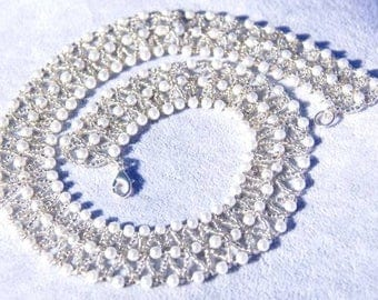 White & Silver Collar Necklace, Pearl Necklace, Collar Necklace, Gift for Her, Mothers Day Gift, Wedding Jewellery, Bridal Jewellery