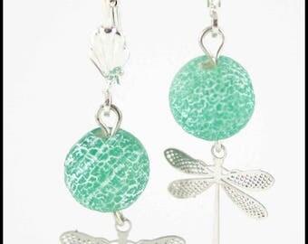Dragonfly earrings glass bead