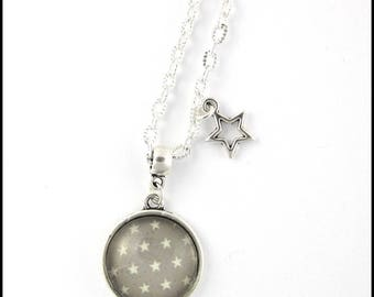 Necklace Silver Star on gray background