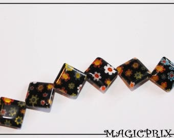 SET of 28 beads Millefiori glass 10 x 10 mm m2278