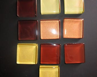 set of 10 Brown mosaic glass squares