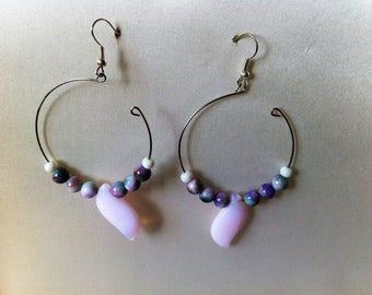 """""""Hoop"""" earrings, natural stones"""