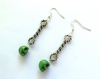 Earrings rock n roll punk knot rope and skull, several colors