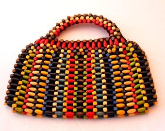 Vintage wood beads purse