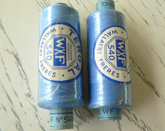 Vintage blue polyester thread no. 540 swatch 770 W.F 50 polyester