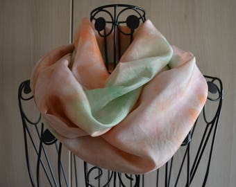 SNOOD made with a silk scarf hand painted