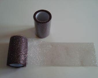 2 rolls of tulle with glitter brown chocolate and silver band 8 cm wide