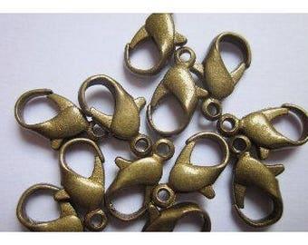 10 Bronze 12mm lobster clasps