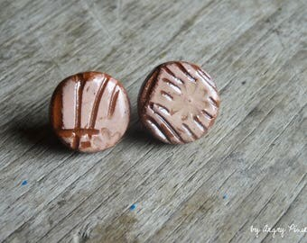 Round Stud Earrings pink ceramic