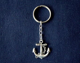 Anchor keychain and metal ring