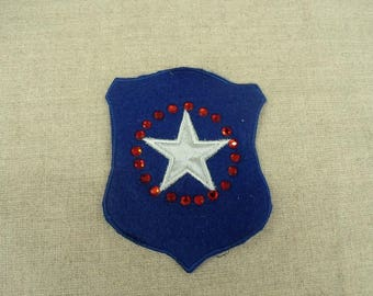 Military patch to sew blue jeans