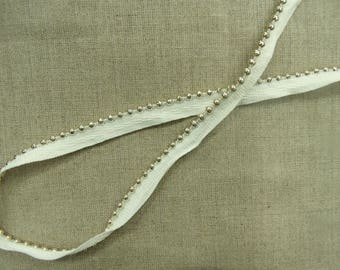 white piping-1.2 cm - Pearl Silver Ribbon