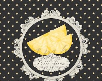 Textile transfer little lemon 7 / 7cm Jul and wire design