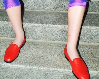 Red Loafers, Vintage Womens Shoes, Size 10