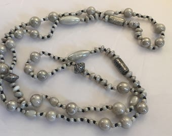 Gray Opalescent Porcelain Bead Necklace