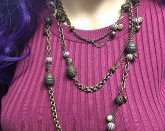 Super long brass chain and bead necklace