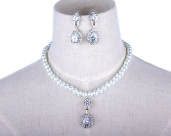 Swarovski Pearl Crystal Wedding Jewelry Set, Pearl Bride Jewelry, Bridal Earrings, Zircon Earrings, Zircon pendant,Necklace SET