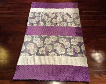 Flowered with purple double sided minky blanket