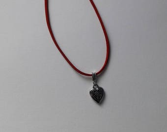 Red suede with Heart Necklace