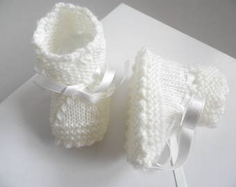 Slippers 01 m notches ecru clear knitting wool