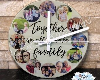 Personalised toughened glass photo wall clock