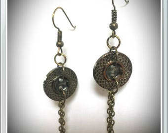 Bronze earrings and buttons