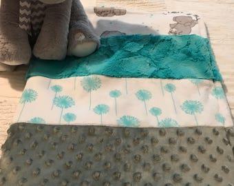 Elephant/dandelion minky quilt