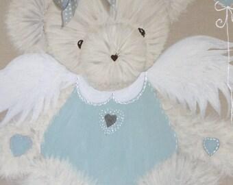 Table Teddy bear Angel children's room decor.