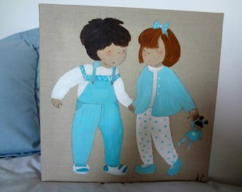 Decorative painting in acrylic paint child's room