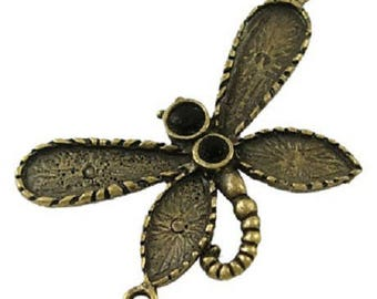 Bronze metal Dragonfly connector charm
