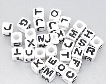 100 Acrylic beads Alphabet cubes 7mm white