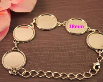 x 1 Support bracelet for 18mm glass cabochons