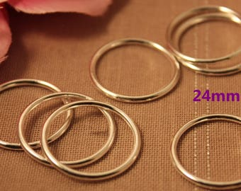 Set of 10 silver closed rings 24mm - APPA10-