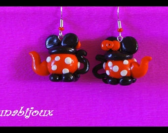 teapot earrings in polymer clay gift