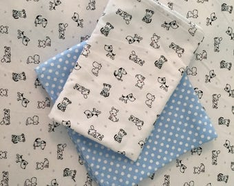 Puppy Dogs Crib Sheet & 2 Swaddle Blankets