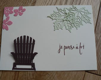"""Card was """"I think of you"""" flowers and leaves in the gardens"""