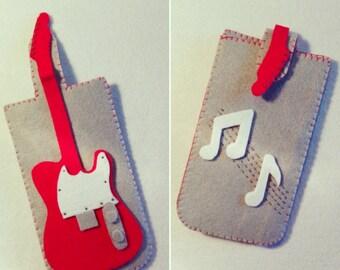 Fender Guitar case felt pouch | Felt cell phone holder Fender guitar