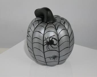 Hand Painted Small Ceramic Pumpkin with Web and Spiders