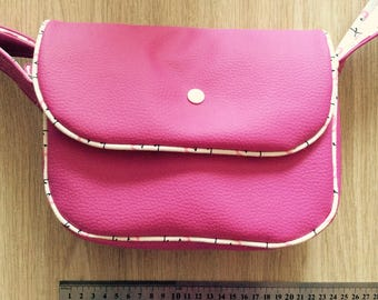 Handbag faux leather fuchsia fabric pink flamingos and background ecru 22x15x8cm handle adjustable button