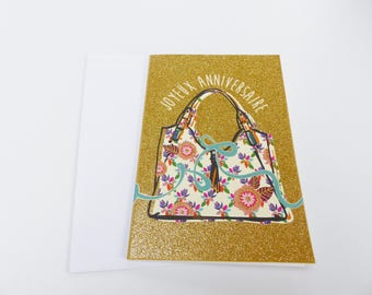 happy birthday glitter gold handbag
