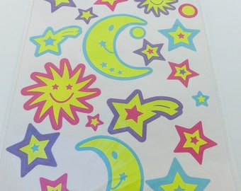 22 stickers phosphorescent stickers theme sky Sun Moon stars