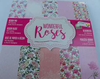 15 cm square pad of 30 sheets wonderful pink flower paper