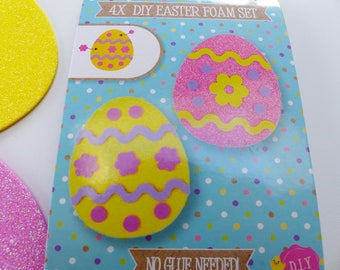 set of 4 Easter eggs in foam and glitter to make and decorate