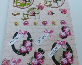 Board sheet A4 images precut to assemble for a 3D effect on the theme of nature romantic rose garden bench die cut flower