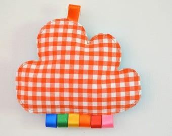 doudou étiquettes rembourré nuage vichy orange rubans arc-en-ciel