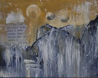 Moon - Acrylic abstract - mixed media