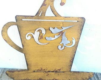 ON SALE Distressed Coffee Cup Metal Wall Decor/Signs/Kitchen Decor/Unique Home Decor/Shabby Chic/French Country Decor/Coffee Lovers/Coffee
